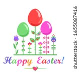 childish funny easter greeting... | Shutterstock . vector #1655087416