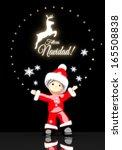 a childish santa claus boy 3d...   Shutterstock . vector #165508838