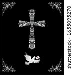 black catholic ornate card with ... | Shutterstock . vector #1655095270