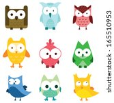 cute owl set bird wildlife...   Shutterstock .eps vector #165510953