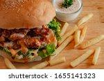 Small photo of Macro shot of Chicken Zinger Burger