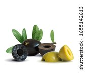 green and black olives low poly.... | Shutterstock .eps vector #1655142613