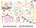 cute unicorn set pictures for a ... | Shutterstock .eps vector #1655160220