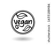 vegan label icon. plant based... | Shutterstock .eps vector #1655188486