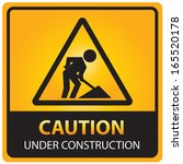 caution under construction sign.... | Shutterstock . vector #165520178