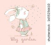 cute spring bunny in garden ...   Shutterstock .eps vector #1655256610