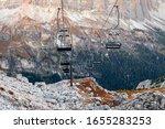 Ski Lifts Along The Ski Slope...