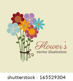 flowers design over cream... | Shutterstock .eps vector #165529304