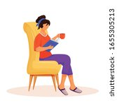 woman reading book flat color... | Shutterstock .eps vector #1655305213