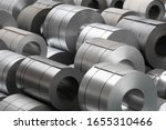 Small photo of amount of steel coils in warehouse, heavy industries