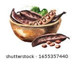 Bowl With Carob Pods. Hand...