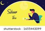 suhoor time in ramadhan vector...