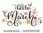 Hello March Month Vector With...