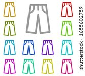 pants multi color icon. simple...