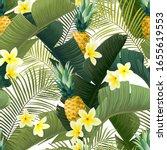 seamless hand drawn tropical... | Shutterstock .eps vector #1655619553