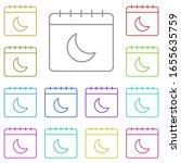calendar  moon multi color icon....