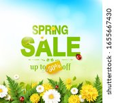 spring sale flyer with flowers  ... | Shutterstock .eps vector #1655667430