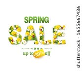 spring sale. up to 50  off.... | Shutterstock .eps vector #1655667436