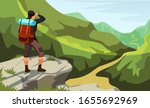 man with backpack stands on... | Shutterstock .eps vector #1655692969