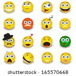 set of round yellow emoticons... | Shutterstock .eps vector #165570668
