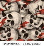 halftone skull seamless pattern.... | Shutterstock .eps vector #1655718580