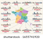france map with main cities.... | Shutterstock .eps vector #1655741920