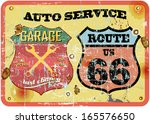 retro garage sign at the route... | Shutterstock .eps vector #165576650