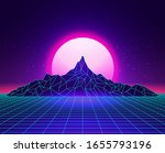 Vaporwave Laser Grid Abstract...