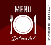 menu label over red background... | Shutterstock .eps vector #165581174