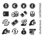 money simple icons set. hand... | Shutterstock .eps vector #1655845060