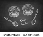 creme brulee. chalk sketch on... | Shutterstock .eps vector #1655848006