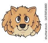 cute cartoon pomeranian face...   Shutterstock .eps vector #1655856880