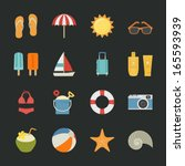 summer and vacation icons with... | Shutterstock .eps vector #165593939