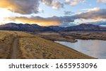 Sunset Mountain Park - A panoramic winter sunset view at Bear Creek Park. Denver-Lakewood, Colorado, USA.
