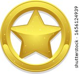 Shiny gold five-pointed star inside a ring. Can represent success, a rating, a sheriff badge, a prize, a rank, triumph, an insignia, Christmas, a prize, a ranking or honors.