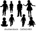 kids vector silhouette | Shutterstock . vector #16561483