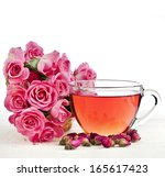 Tea Cup With Rose Bouquet...