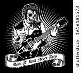 skull rockabilly style playing...   Shutterstock .eps vector #1656181573