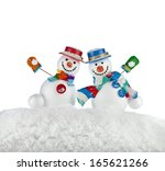 Two Fun Dancing Snowmans In A...