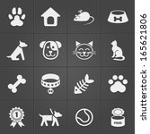 Stock vector cute pet icons on black vector elements 165621806