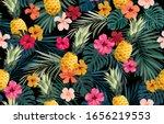 seamless hand drawn tropical... | Shutterstock .eps vector #1656219553