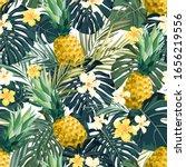 seamless hand drawn tropical... | Shutterstock .eps vector #1656219556