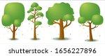set of vector green tree in...