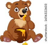Cartoon Baby Bear Sitting And...