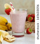 strawberry banana smoothie made ... | Shutterstock . vector #165633056