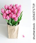 Bouquet Of Pink Tulips Wrapped...