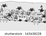 cartoon image of greek village | Shutterstock . vector #165638228