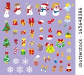 christmas sticker and vector... | Shutterstock .eps vector #165648386