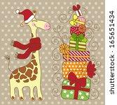 cute happy giraffe with a lot... | Shutterstock . vector #165651434