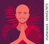 smiling female monk. hand... | Shutterstock .eps vector #1656517873